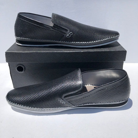 617914e9f29 MEN S Zanzara Merz Leather Slip On Shoes Black NWT